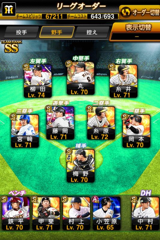 リーグオーダー(野手)