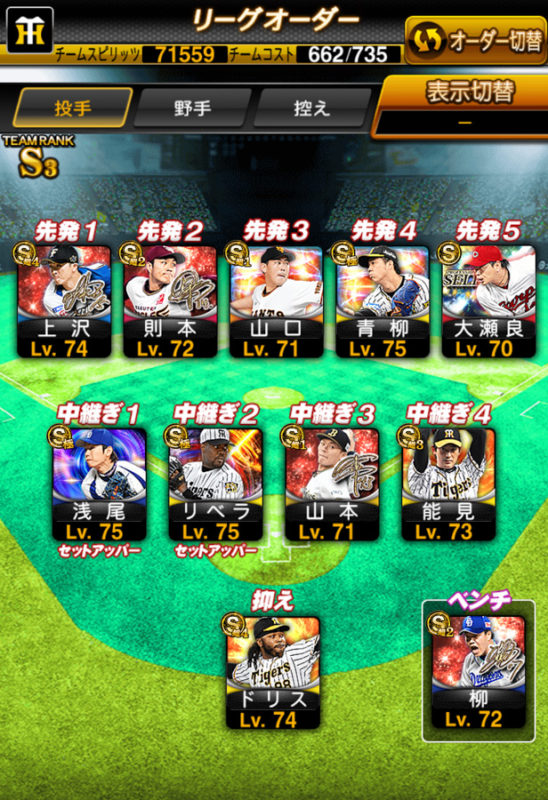 ログイン200日のリーグオーダー(投手)